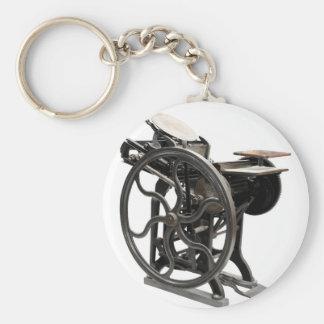 letterpress machine round keychain