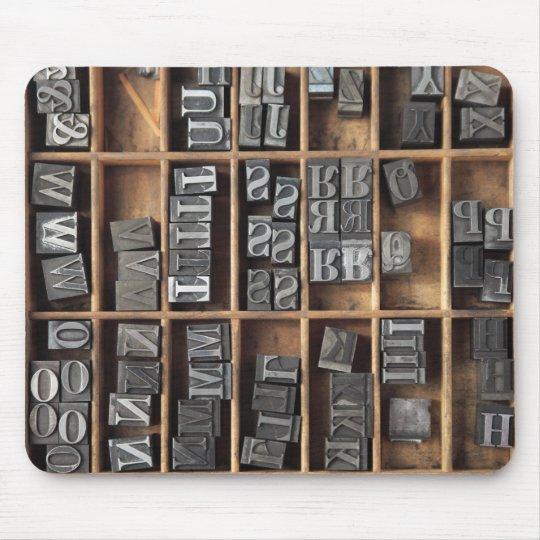 letterpress metal type mousepad