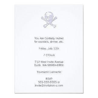 Letterpress Style Jolly Roger 11 Cm X 14 Cm Invitation Card