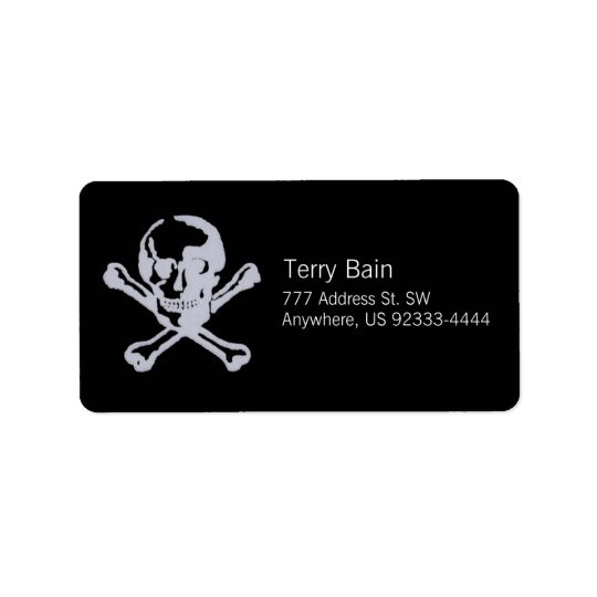 Letterpress Style Jolly Roger Address Label