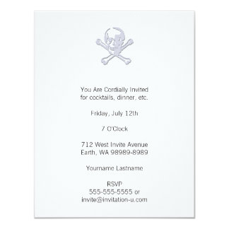 Letterpress Style Jolly Roger 4.25x5.5 Paper Invitation Card