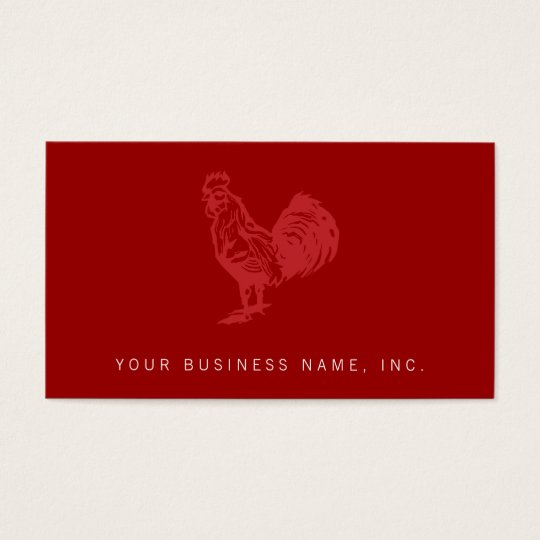 Letterpress Style Red Rooster Business Card