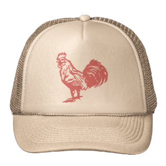 Letterpress Style Red Rooster Mesh Hat