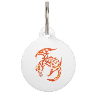 Letterpress Tribal Style Dragon Pet ID Tag
