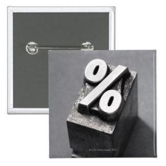 % Letterpress type 15 Cm Square Badge