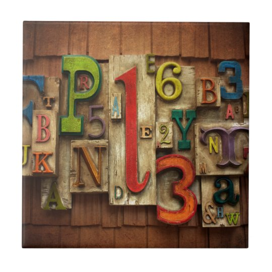 letters and numbers small square tile