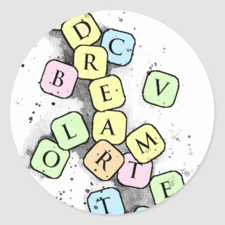 letters classic round sticker