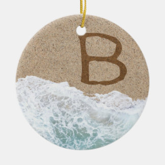 LETTERS IN THE SAND B ROUND CERAMIC DECORATION