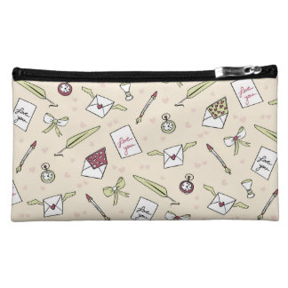 Letters of love with wings, bows, clocks and pens makeup bag
