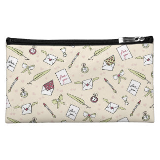 Letters of love with wings, bows, clocks and pens makeup bags
