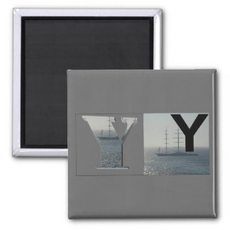 Letters - Y - Yacht Square Magnet