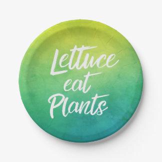 Lettuce Eat Plant Vegetarian and Vegan Humor Paper Plate