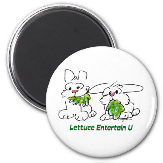 Lettuce Entertain U Cartoon Rabbits Magnet