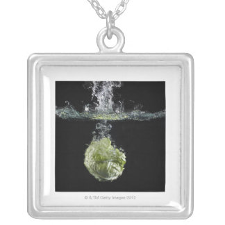 Lettuce splashing in water silver plated necklace