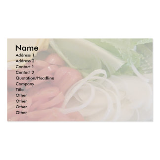 Lettuce tomato and onion. business card template
