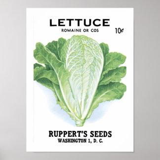 Lettuce Vintage Seed Packet Poster