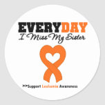 Leukaemia Every Day I Miss My Sister Round Stickers