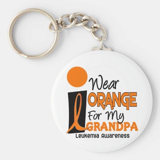 Leukaemia I WEAR ORANGE FOR MY GRANDPA 9 Basic Round Button Key Ring