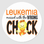 Leukaemia Messed With The Wrong Chick Round Sticker