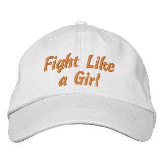 Leukemia Awareness Fight Like a Girl Embroidered Baseball Cap