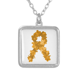 Leukemia Awareness Flower Ribbon Silver Plated Necklace