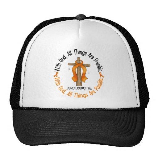 Leukemia Awareness WITH GOD CROSS Hat