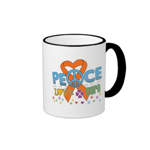 Leukemia Cancer Groovy Peace Love Cure Coffee Mugs