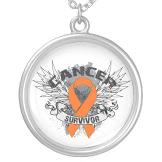 Leukemia Cancer Survivor Grunge Winged Round Pendant Necklace