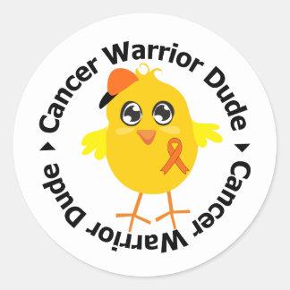 Leukemia Cancer Warrior Dude Round Stickers