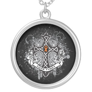 Leukemia - Faith Family Prayer Cross Round Pendant Necklace