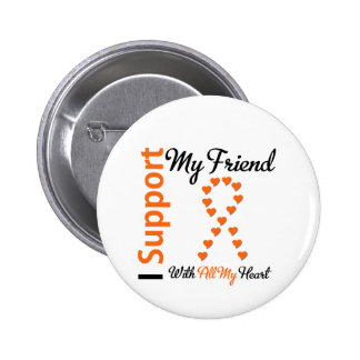Leukemia I Support My Friend 6 Cm Round Badge