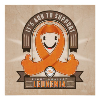 Leukemia - Retro Charity Ribbon - Poster
