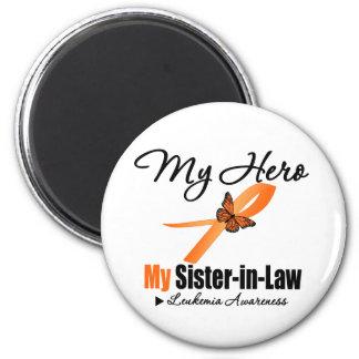 Leukemia Ribbon My HERO My Sister-in-Law 6 Cm Round Magnet