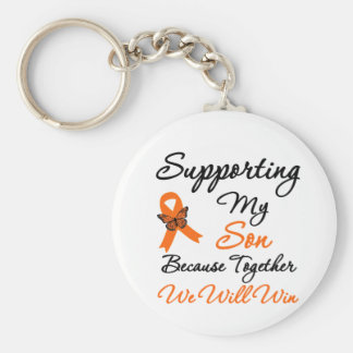 Leukemia Supporting My Son Basic Round Button Key Ring