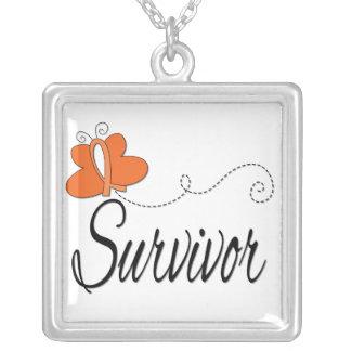 Leukemia Survivor Butterfly Ribbon Personalized Necklace