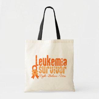 Leukemia Survivor Flower Ribbon Tote Bags