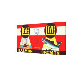 Levee Brand Salmon Label- Seattle, WA Canvas Print