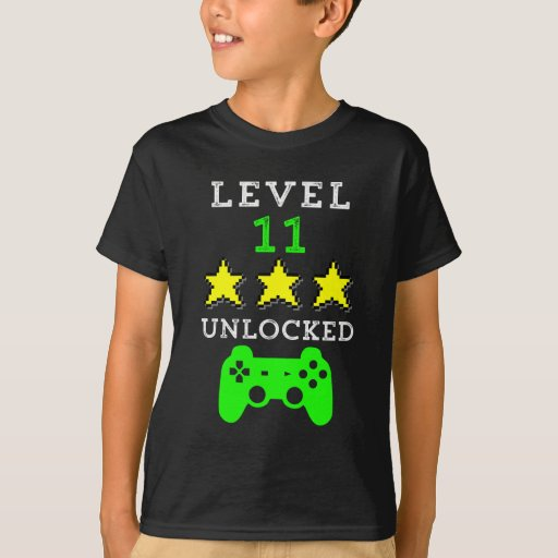 Level 11 unlocked shirt funny birthday boys tshirt