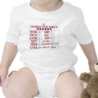 Level 1 Human Baby RPG Character Sheet Bodysuit