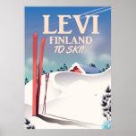 Levi, Finland ski travel poster