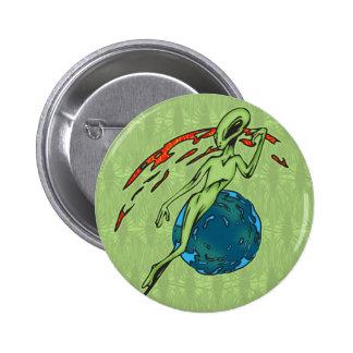 Levitating Alien 6 Cm Round Badge
