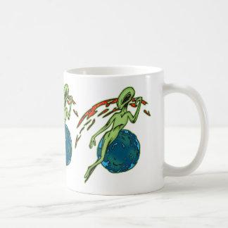 Levitating Alien Basic White Mug