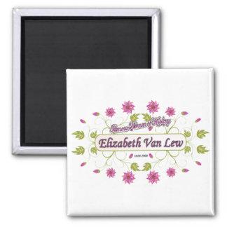 Lew ~ Elizabeth Van / Famous USA Women Square Magnet