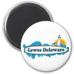 "Lewes Beach ""Surf"" Design. 6 Cm Round Magnet"