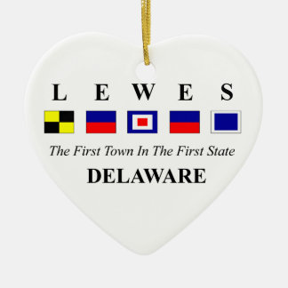Lewes, DE 2- Nautical Flag Spelling Christmas Ornament