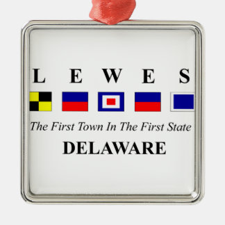 Lewes, DE 2- Nautical Flag Spelling Silver-Colored Square Decoration