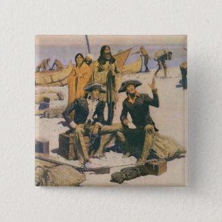 Lewis and Clark at the Columbia River 15 Cm Square Badge
