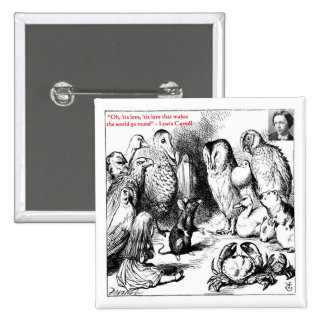 Lewis Carroll Looking Glass Illustration & Quote 15 Cm Square Badge