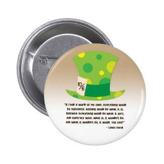 Lewis Carroll Mad Hatter Alice in Wonderland 6 Cm Round Badge