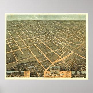 Lexington Kentucky 1871 Antique Panoramic Map Poster